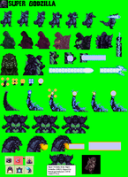 Super Godzilla Sprite Sheet by Burninggodzillalord