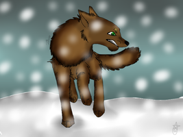 Tramp in snow by AutumLeavesofFall