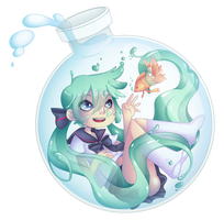 Bottle Miku by BluevanDeurs