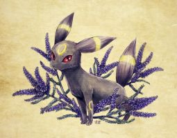 Seasons of Eevee - Umbreon and Lead Plants by juugatsuhoshi