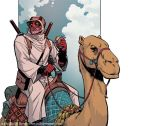 Deadpool Riding a Camel, Eating a Burrito by ReillyBrown