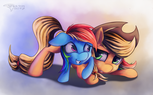 Rainbow pony in your face by Ferasor