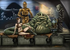 Jabba and Slave Leia by jameslink