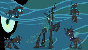 Queen Chrysalis and changelings wallpaper by neodarkwing