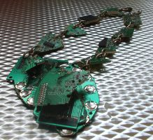 Green Cyber Necklace by Flocculus