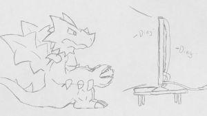 Druddigon Playing Wii U (Early Version) by LazyReptile126