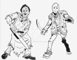 Jason and Leatherface by angryrooster