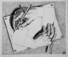 Escher's 'Drawing Hands' by FemmeFatale06