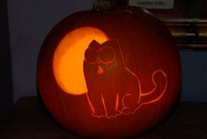 Simon's Cat pumpkin by scarykurt