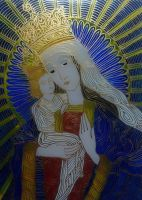 Our Lady of Kozielsk - painting on glass by sintel16