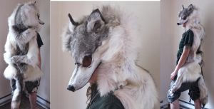 Custom gray wolf headdress by lupagreenwolf