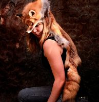 Red Fox Skin Headdress by NaturePunk