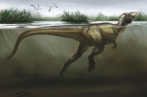 Swimming Theropod by cheungchungtat