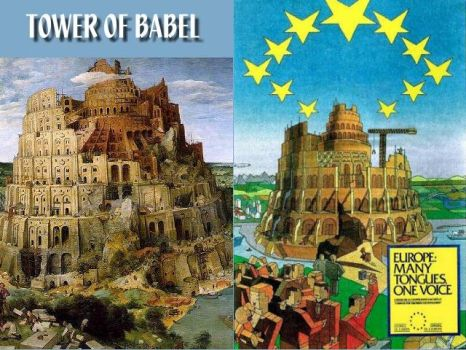 EU Parliament (Tower of Babel Poster 02) by NixSeraph