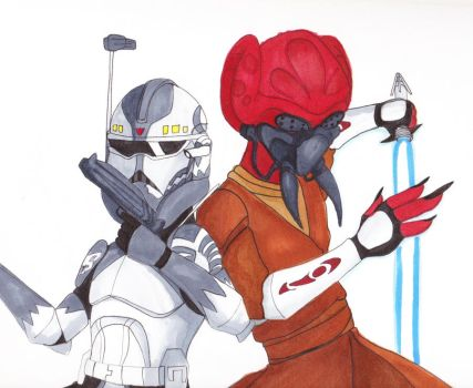 Jedi General Plo Koon and Commander Wolffe by EnsignKlutz