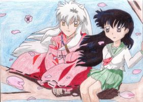 Inu and Kagome-Cherry Tree by ChasDElric