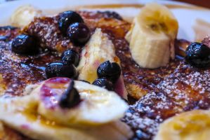 Blueberry Pancakes with Maple Syrup Bananas by NeroDesign