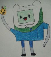 BMO Dressed as Finn from Adventure Time by tomboygirl546