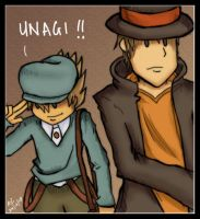 Luke + Professor Layton: Unagi by game-flu