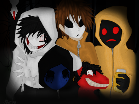 Creepypasta Gang :COLORED ADDITION: by PilusInk