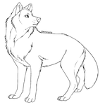 Free lineart - wolf by Kipine