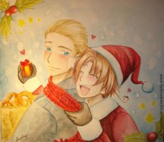 Merry Xmas with Lud and Feli by Sara by SakurahimeArt