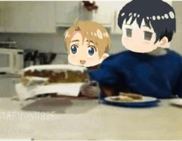 Hetalia - AFV - gif - Chibi America and Japan by SydneyA