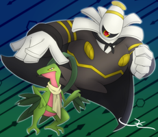 Dusknoir and Grovyle! by JCBrokenLight