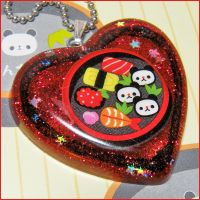 Panda Sushi Resin Necklace by bapity88