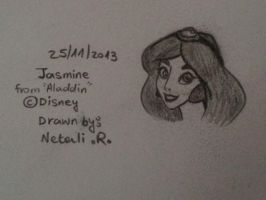 Quick Sketch of Princess Jasmine from Aladdin by inspired-flower