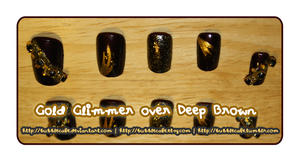 Gold Glimmer over Deep Brown Nails by BubbleCafe