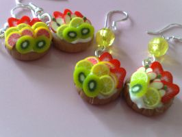 fruit tarts silver earrings by PinkCakes