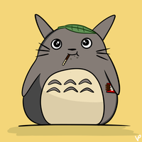 totoro having a munch munch by vivienegg