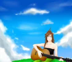 Playing on the guitar by Fulgururis
