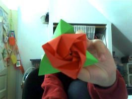 Red Rose Origami by hatshere