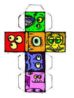 Monster Faces Cut-Out Cube by billiambabble
