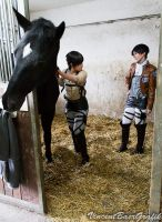 SnK Cosplay - My Horse My Rivaille and Me...Eren by K-I-M-I
