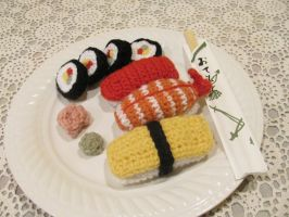 Crochet Sushi by WingedMidnight88