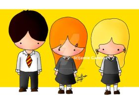 Ginny, Neville, and Luna by penguinkirby