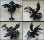 Black dragon brooch by Rrkra