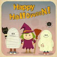 Free Vector cute girl witch with skeleton happy ha by cgvector