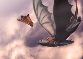 Hiccup and Toothless flying over the clouds by YAMATA12