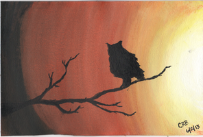 Owl At Sunset by dragonrose1986