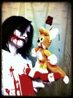 Jeff the killer finds tails doll by Green-Bullseye