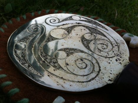 Romano-Celtic Iron Age bronze mirror other side by Dewfooter