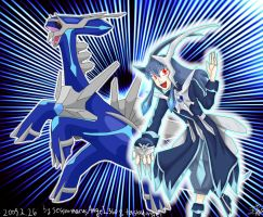 Dialga and its Trainer by PlatinaSi