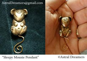 Sleepy Mousie Pendant by AstralDreamers