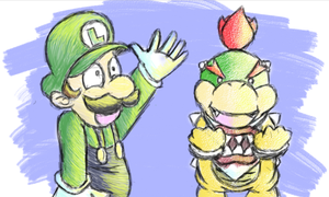Luigi and Bowser Jr. by MegYosh