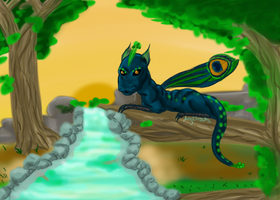 Peacock Dragon by Angeltsuki-Chan