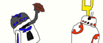 R2 and BB8 Playing Football by Simpsonsfanatic33